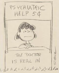 Peanuts comic stip-Lucy pyschiatric help!