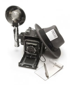 vintage news reporter hat and camera