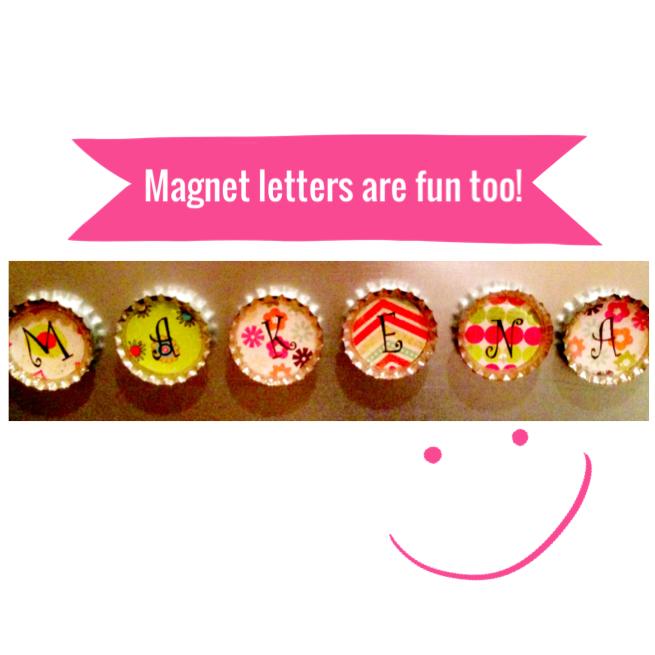 Bottlecap magnet letters. www.mytributejournal.com