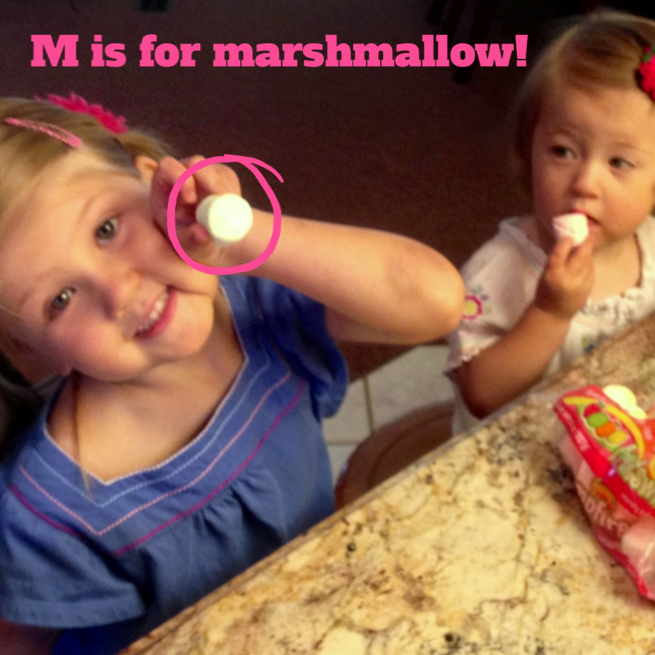 """""""M"""" is for marshmallow! www.mytributejournal.com"""