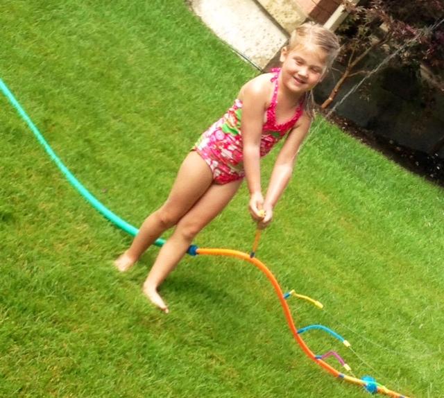 Makena playing in water!