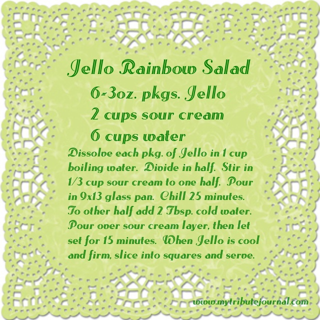 Jello Rainbow Salad Recipe www.mytributejournal.com