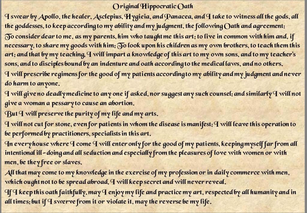 Original Hippocratic Oath www.mytributejournal.com