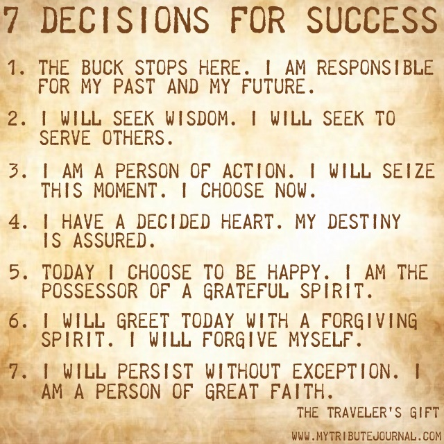 7 Decisions for Success-The Traveler's Gift www.mytributejournal.com