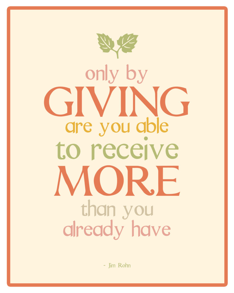 Jim Rohn quote on giving.