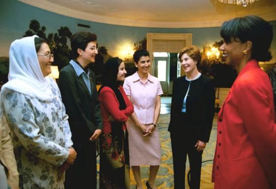 Laura Bush, Condoleza Rice advocate for Afghan women's rights.
