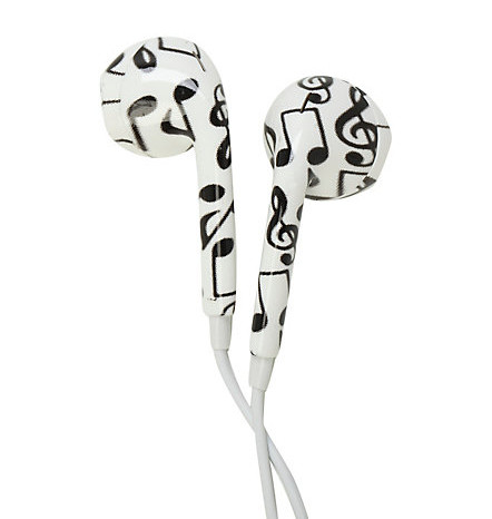 Musical note ear buds.