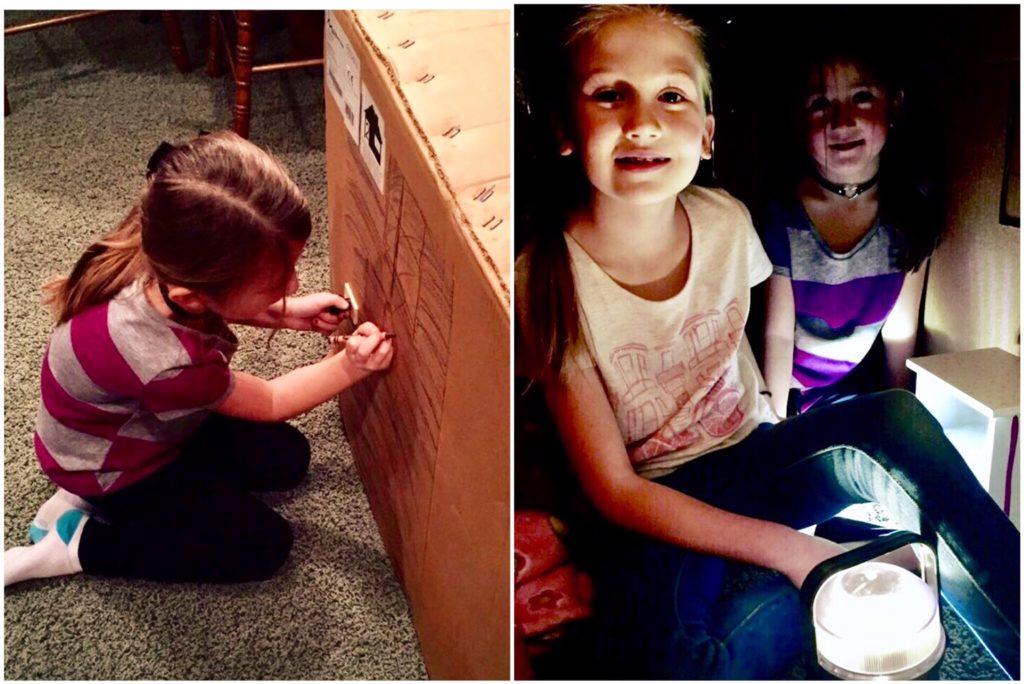 Creative play! Making a box hut!