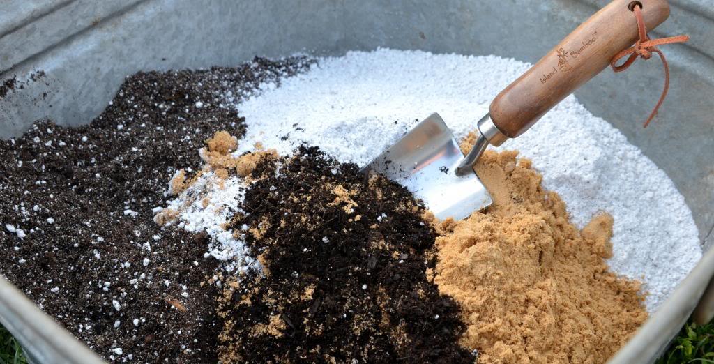 Making flower pot soil.